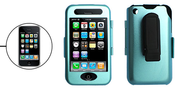 Blue Aluminum Hard Case Cover with Clip for Apple iPhone 3G 2nd Generation