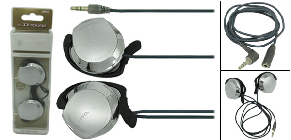 Silvery 3.5mm Stereo Earphone Headphone with Ear-Hook for MP3 MP4