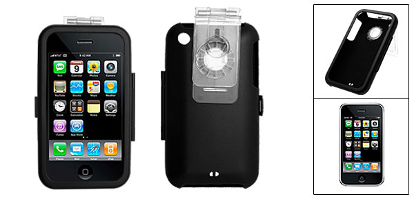 Black Protective Aluminium Skin Case Cover with Clip for Apple iPhone 3G