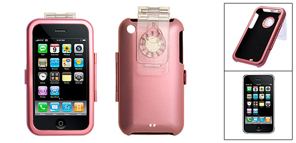 Pink Protective Aluminium Skin Case Cover with Clip for Apple iPhone 3G
