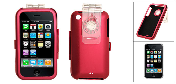 Red Protective Aluminium Skin Case Cover with Clip for Apple iPhone 3G