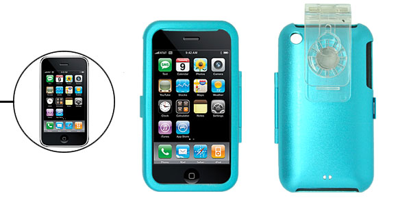 Protective Blue Aluminum Case Cover with Clip for Apple iPhone 3G
