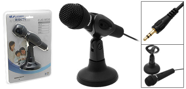 Mini Desk Table 3.5mm Studio Video Chat Microphone with Stand