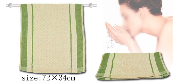 Face Hand Bath Cotton Washcloth Towel with Green Stripe