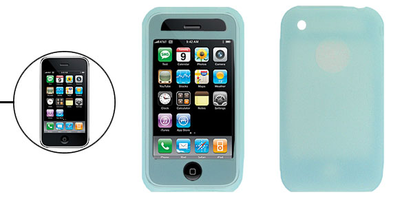 Clear Light Blue Silicone Skin Protector Case Cover for Apple iPhone 3G