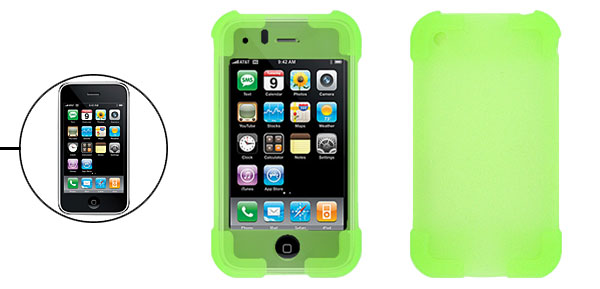 Green Silicone Skin Protector Case Cover for Apple iPhone 3G