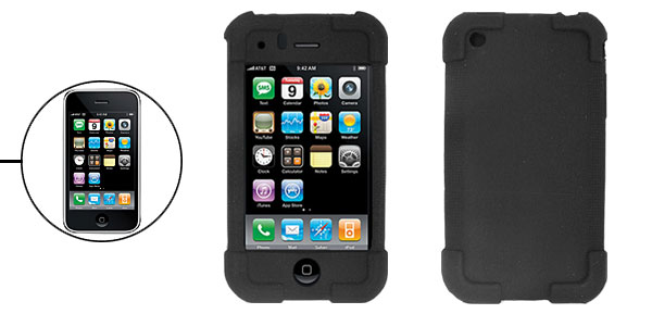 Black Silicone Skin Protector Case Cover for Apple iPhone 3G