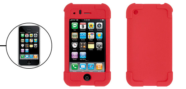 Red Silicone Skin Protector Case Cover for Apple iPhone 3G