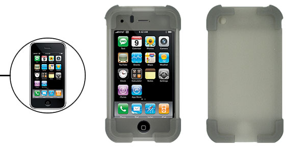 Gray Silicone Skin Protector Case Cover for Apple iPhone 3G