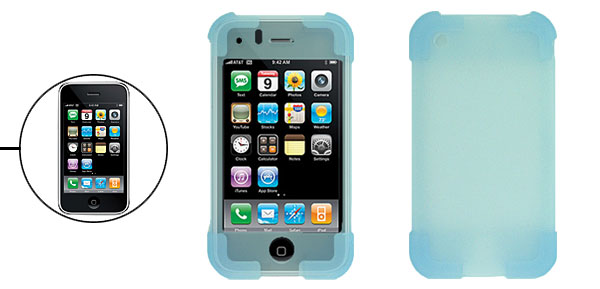 Light Blue Silicone Skin Protector Case Cover for Apple iPhone 3G