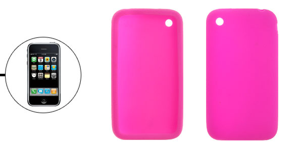 Hot Pink Silicone Skin Protector Case Cover for Apple iPhone 3G