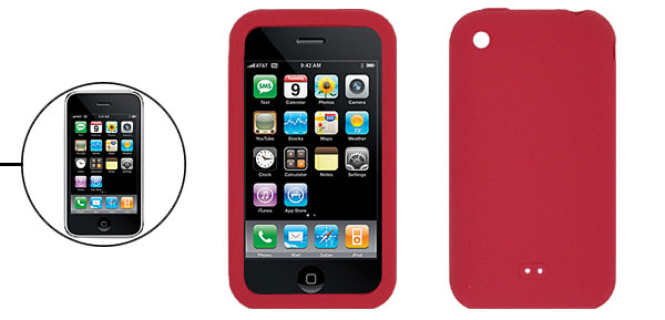 Red Silicone Skin Protective Back Case for Apple iPhone 3G