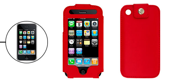 Vertical Charming Red Leather Protector Case for Apple iPhone 3G