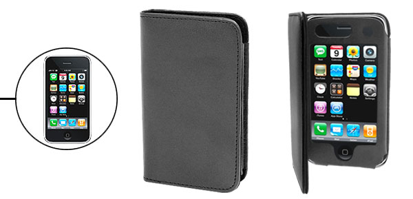 Black Wallet Style Leather Case for Apple iPhone 3G