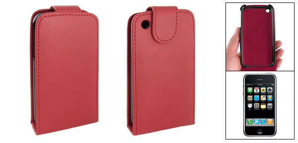 Red Faux Leather Folio Case for Apple iPhone 3G