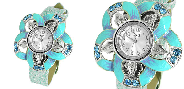 Fashion Jewelry Sky Blue Flower Face Slim Leather Band Lady's Wrist Quartz Watch