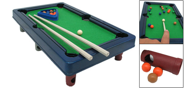 Navy Blue Kids Mini Table Snooker Pool Billiards Game Set Toy