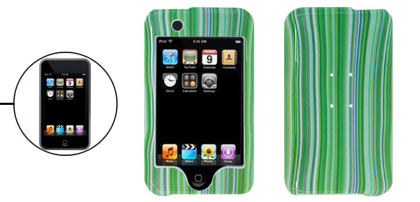 Hard Plastic Case with Green Stripe Design for iPod Touch 1st Generation