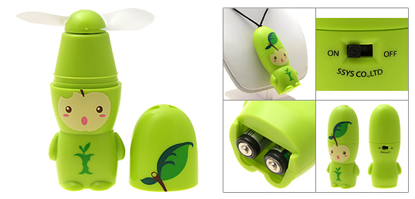 Portable Ultra Small Cartoon Apple Pattern Battery Powered Green Fan