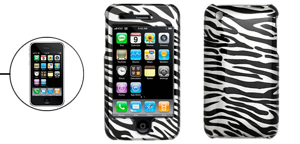 Black and Silver Zebra Design Hard Plastic Case for Apple iPhone 3G 2nd
