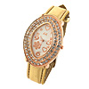 Oval Golden Watch Case Leather Watchband Ladies' Wrist Watch