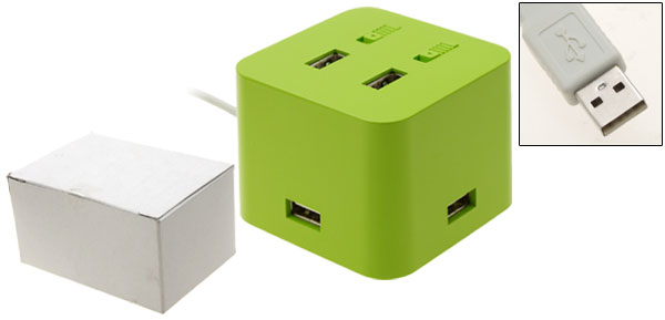 Green Square USB 4 Port Hub with 2 Switch for PC Laptop