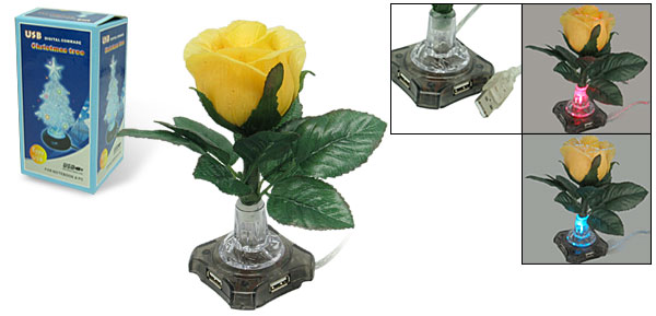 Colorful Flash Light Yellow Rose USB 2.0 4 Port Hub for Laptop PC