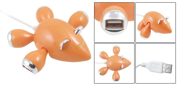 High Speed Orange Mouse PC Laptop 4 Port USB Hub with LED Light