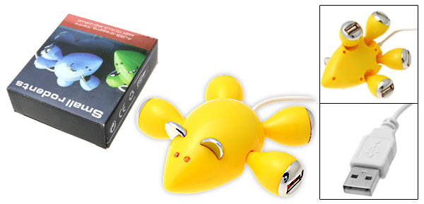 Yellow Mouse 4 Port USB Hub with LED Light for PC Laptop
