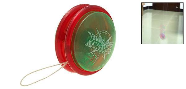 Interesting Round Children's Yo-Yo Toy Green and Red with Flashlight