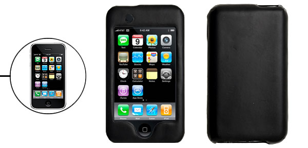 Black Leather Covered Hard Plastic Case for iPod Touch 1st Generation