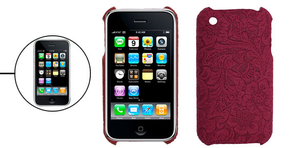 Hard Case for Apple iPhone 3G with Crimson Textured Back Panel
