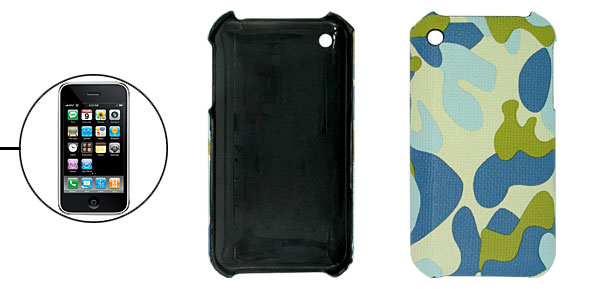 Camouflage Leather Covered Hard Plastic Case for Apple iPhone 3G