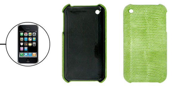 Hard Plastic Back Case with Green Snakeskin Leather Cover for Apple iPhone 3G