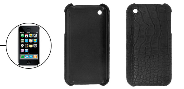 Black Leather Covered Hard Plastic Case for Apple iPhone 3G