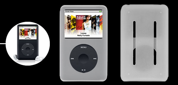 Anti-slip Clear White Silicone Skin Case for iPod Classic 80GB