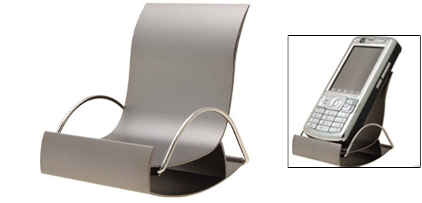 Metal Silver Tone Chair Shaped Hard Holder Stand for Cell Phone