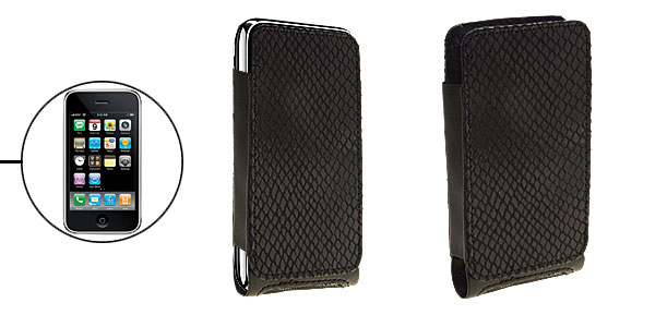 Vertical Black Snakeskin Like Faux Leather Case Pouch for Apple iPhone 3G