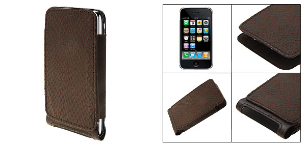 Dark Brown Snakeskin Like Faux Leather Vertical Case Pouch with Mesh for Apple iPhone 3G