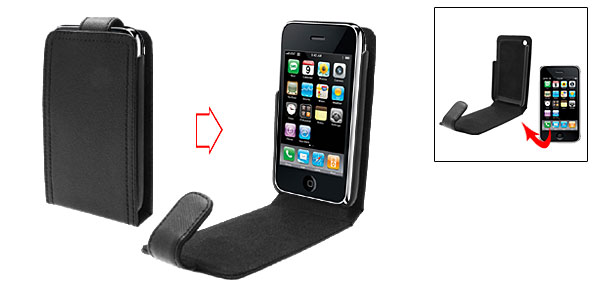 Vertical Flap Hard Black Leather Case Pouch for Apple iPhone 3G