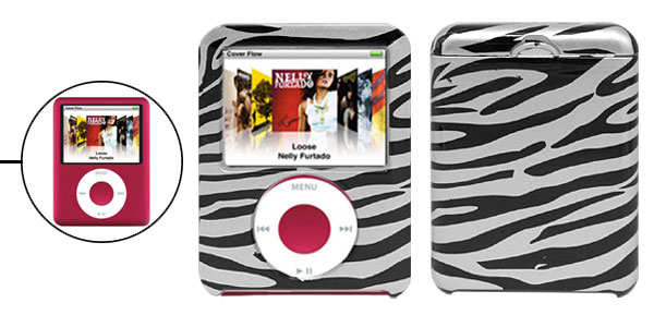 Black and Silvery Zebra Design Hard Plastic Case for iPod Nano 3G