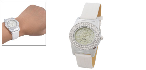 Elegant Silvery Dial White Leather Band Rhinestone Watch