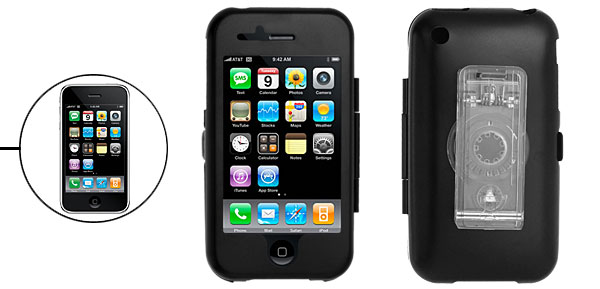 Black Hard Aluminum Case with Transparent Clip for Apple iPhone 3G