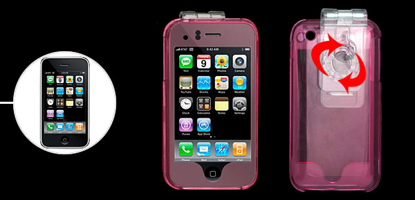 Standing Pink Clear Crystal Hard Plastic Case with Clip for Apple iPhone 3G