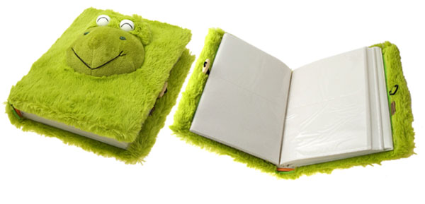 Rectangle Cute Green Frog Pattern Soft Plush Photo Picture Album Case