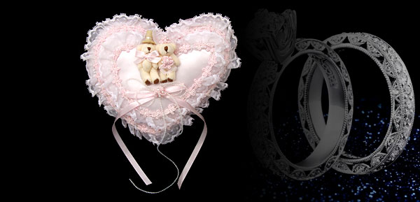 Pink Satin Lace Heart Lovely Couple Bears Wedding Ring Bearer Pillow