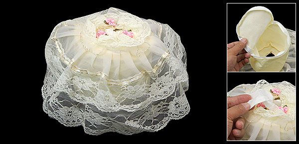 Lace Cover Round Bath Room Toilet Paper Tissue Holder Barrel