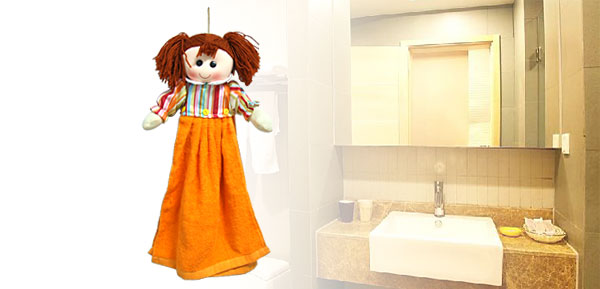 Orange Girl Shaped Cotton Wall Hanging Washing Hand Face Towel Washcloth