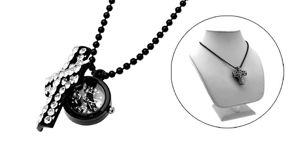 Fashion Jewelry White Rhinestone Cross Pendant Ladies' Quartz Necklace Watch