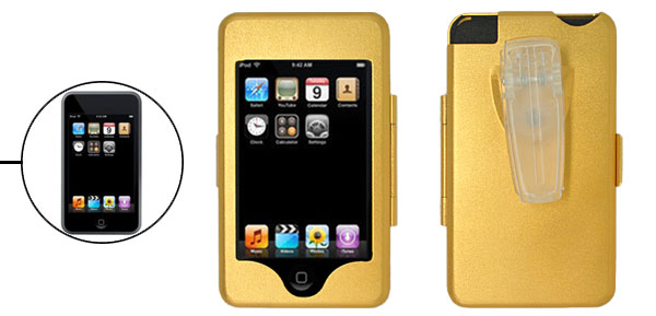 Aluminium Metal Hard Enclosure Case with Clip for iPod Touch Golden 1st Generation